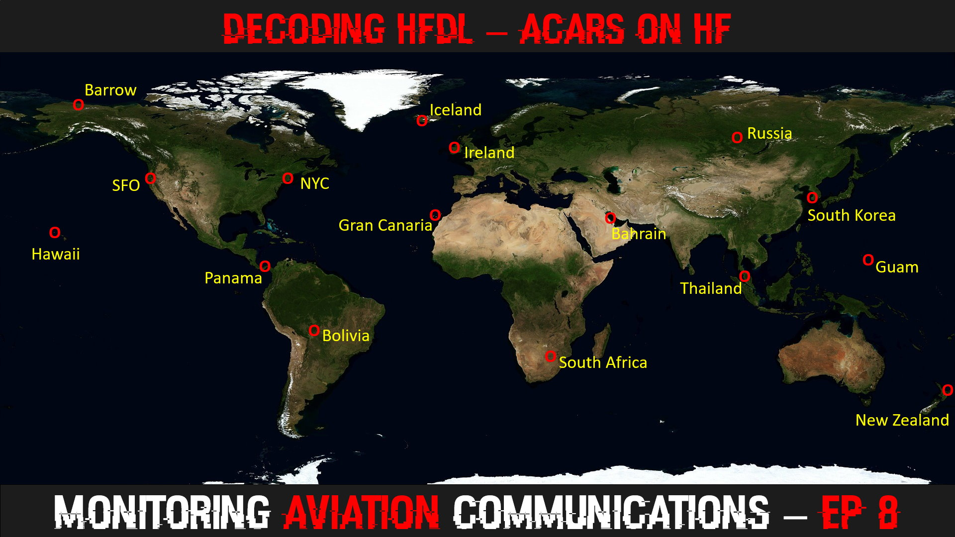 Map of HFDL Ground Stations used in the YouTube video of Decoding HFDL.